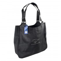 Mustang Microfiber Black Running Horse Tote Carrying Bag Handbag