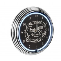 Ford Motor Co. Vintage Logo White Light Up Neon Garage Man Cave Wall Clock w/ Chrome Trim