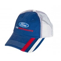 Ford Performance Embroidered Blue & White Adjustable Mesh Snap Back Baseball Hat Cap