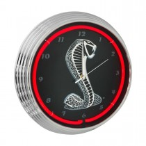 Ford Mustang SVT Cobra GT500 Neon Garage Man Cave Wall Clock Chrome Trim w/ Red Illumination