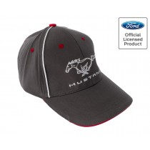 Ford Mustang Running Horse Pony Logo Grey Red & White Adjustable Hat Cap