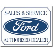 Ford Sales & Service Authorized Dealer Tin Sign