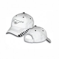 Ford Mustang White & Black Stitching Running Horse Hat Cap w/ Mustang Script