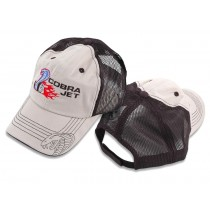 Mustang Cobra Jet Embroidered Tan & Black Mesh Baseball Hat Cap