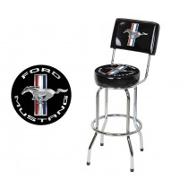 Ford Mustang Chrome & Black Tribar Running Horse Bar Stool Chair w/ Back Rest