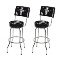 Ford Mustang Chrome & Black Tribar Running Horse Bar Stools w/ Back Rest - Pair