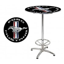 "Ford Mustang Chrome & Black Running Horse 27"" Round Cafe Game Room Bar Table"