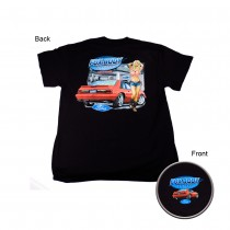 Ford Mustang Fox Body w/ Pin Up Girl Black T-Shirt
