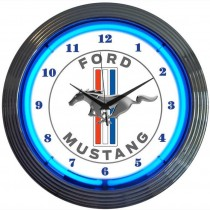 Ford Mustang Tribar Running Horse Neon Wall Clock White w/ Blue Illumination