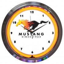 Ford Mustang Flaming Running Horse Pony REAL Neon Orange Wall Clock Man Cave