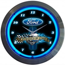 Powered By Ford Neon Wall Clock Chrome Trim w/ Blue Illumination