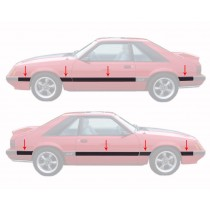 1985-1986 Ford Mustang GT 8 Piece Body Side Moldings Mouldings Kit