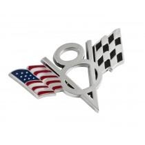 "Ford Mustang Truck American & Checkered Flag V8 4"" Chrome Metal Emblem"