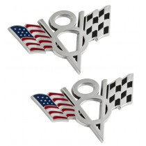 "Ford Mustang Truck American & Checkered Flag V8 4"" Chrome Metal Emblems - Pair"