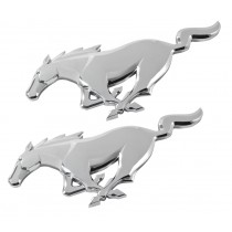 2015-2017 Genuine Ford Mustang 7.5' x 2.5 Chrome Running Horse Pony Emblems Pair
