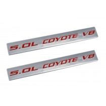 2011-2017 Ford Mustang GT Ford F150 5.0 Coyote V8 Emblems Silver & Red - Pair
