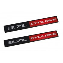 2011-2017 Ford Mustang V6 3.7L Cyclone 5 3/4' Emblems Black, Red & Silver - Pair