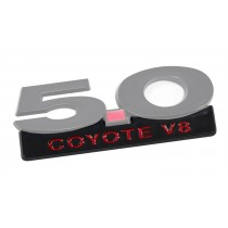 "2011-2014 Mustang GT 5.0 Coyote V8 5"" Black & Red Fender Lower Emblem Accent"