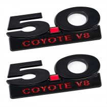 2011-2014 Mustang GT 5.0 Coyote V8 Black & Red Fender Emblems & Accent - 4pc Kit