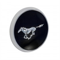 "1979-1982 Ford Mustang Front Hood Emblem Black & Chrome Running Horse 3.25"" Round"