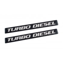"Ford F150 F250 F350 Super Duty Truck 5"" Turbo Diesel Black & Silver Emblems - Pair"