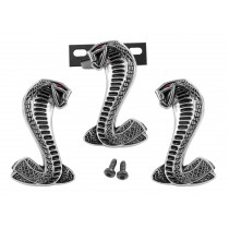 "Pair Ford Mustang 3 1//2/"" Cobra Snake Fender Side Emblems Two-Tone Black"