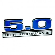 Ford Mustang Blue & Chrome 5.0 High Performance 3D Stick On Embossed Emblem
