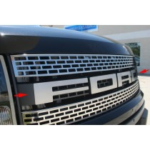 2010-2014 Ford F-150 Raptor Brushed Stainless FORD Front Grille Letters Emblems