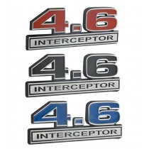 Ford Crown Vic 4.6L Police Interceptor Emblem Black, Blue, or Red Inlay w/ Chrome Trim