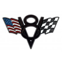 Ford Mustang American & Checkered Flags V8 Black Fender Trunk Emblem