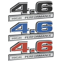 4.6L High Performance Emblem Black, Blue, or Red Inlay w/ Chrome Trim