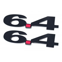 Ford Truck Black 6.4 6.4L Liter Fender Emblems with Red Decimal Point - Pair