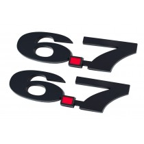 Ford Truck Black 6.7 6.7L Liter Fender Emblems with Red Decimal Point - Pair