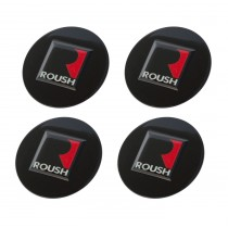 "1994-2021 Ford Mustang 2.5"" Roush Black Wheel Center Cap Inserts Set of 4"