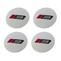 "1994-2020 Ford Mustang 2.5"" Roush RS3 Silver Wheel Center Caps Set of 4"