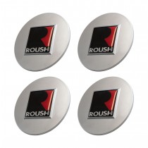 "1994-2020 Ford Mustang 2.5"" Roush R Silver Wheel Center Caps Set of 4"