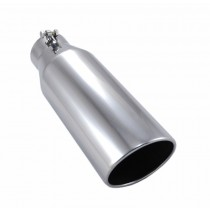 "3.5"" In 4.5"" Out 12"" Long Polished Stainless Exhaust Tip - Ford & Chevy Trucks"