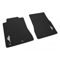 2011-2012 Genuine Ford Mustang Charcoal Black Front Floor Mats w/ Silver Running Horse