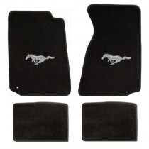 1994-2004 Mustang 4pc Black Floor Mat Set w/ Silver Pony
