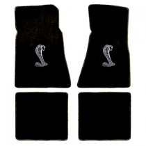 1979-1993 Mustang 4pc Black Floor Mat Set w/ Cobra