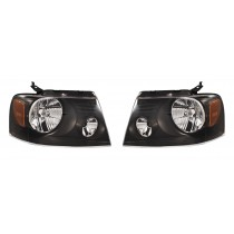 2004-2008 Ford F150 Harley Davidson Style Headlights Lamps w/ Amber LH & RH