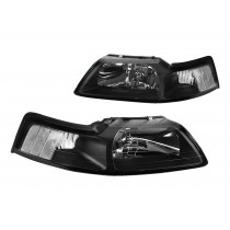 1999-2004 Ford Mustang Black Euro Headlights Clear Side Markers Pair