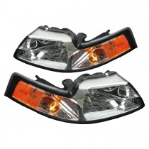 1999-2004 Ford Mustang & Cobra Factory Headlights w/ Amber Side Markers Pair