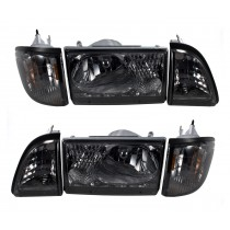 Details about  1987-1993 Ford Mustang 6 Piece Euro Smoked Headlights Amber Side Marker SAE/DOT