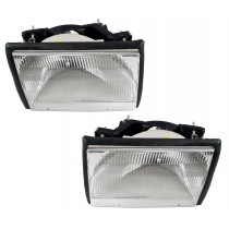 1987-1993 Mustang Stock Headlights Clear Pair SAE/DOT w/ Adjusting Brackets, Rubber Seal & Bulbs