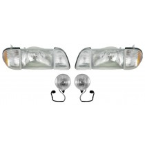 1987-1993 Ford Mustang GT Stock Headlights w/ Amber Sides & Fog Lights Kit