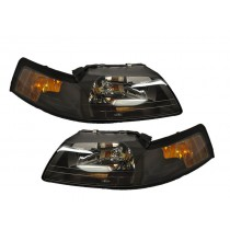 2001-2004 Mustang & Cobra Stock Headlights w/ Xenon 9007 Bulbs