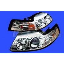 1999-2004 Ford Mustang Chrome Projector One Piece Headlights & Markers - Pair