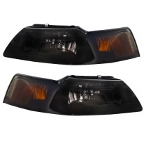 1999-2004 Mustang Ultra Smoked  Headlights w/ Xenon Bulbs - Pair