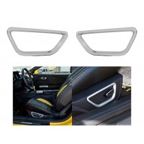 2015-2017 Ford Mustang Satin Silver Seat Adjust Trim Highlight Surround